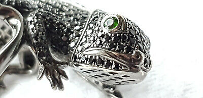 9ct WHITE GOLD BLACK RHODIUM PLATED BLACK SPINEL GECKO RING - SIZE N - 10.3 g