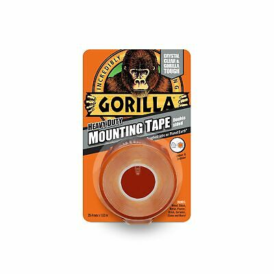 Gorilla Tape Double Sided Heavy-Duty Mounting Tape Indoor Outdoor 25.4mm x 1.52m