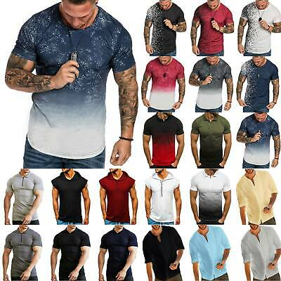 Men Short Sleeve T Shirts Fitness Casual Muscle Tops Fashion Baggy Blouse