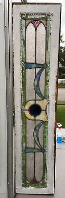 LG 1900 Antique VICTORIAN Transom STAINED GLASS WINDOW Old ARCHITECTURAL SALVAGE