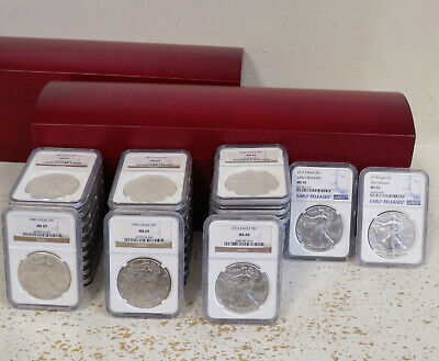 33pc Set NGC Graded Silver Eagles. 1986-2016 MS 69, 2017-18 MS70