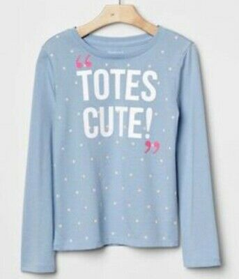 GAP KIDS Girls GRAPHIC T-SHIRT Sz 6-7 TOTES CUTE Blue Stars *gg