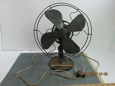 """Antique General Electric 10"""" GE Aluminum? Blades Two Speed Oscillating Fan"""