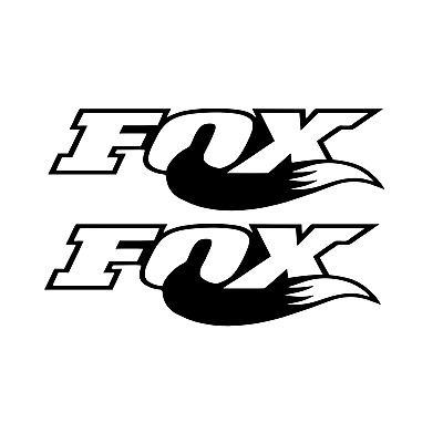 2x fox racing vinyl stickers in 4D carbon and white Motorcross mtb downhill
