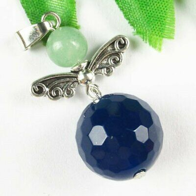 Carved Tibetan Sliver Wing Faceted Blue Agate Ball Pendant Bead A03158