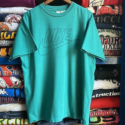 Vintage 90's Nike Spell Out Single Stitch T Shirt Green Large