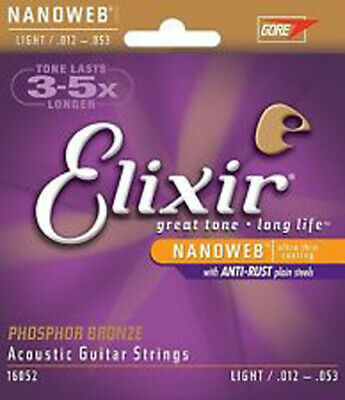 ELIXIR Nanoweb Coated Phosphor Bronze ACOUSTIC GUITAR Strings # 16052