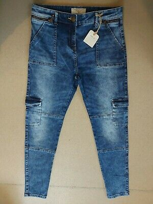 Next Boy's Skinny Blue Straight Leg Zip Button Up Jeans Age 13 Years