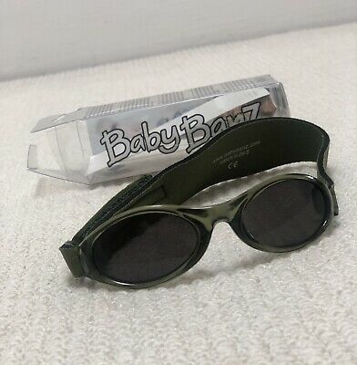 NEW Baby Banz Black With Green Strap Sunglasses For Baby Infant
