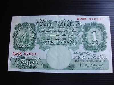 £1 Bank of England  1955 O'Brien note