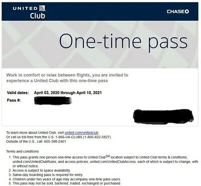 One United Airlines UA Club One-Time Pass E-Delivery (Expires Apr 2021)