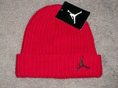 NEW with TAGS ~ YOUTH ~ JORDAN Skull Beanie Hat RED w/Black JUMPMAN