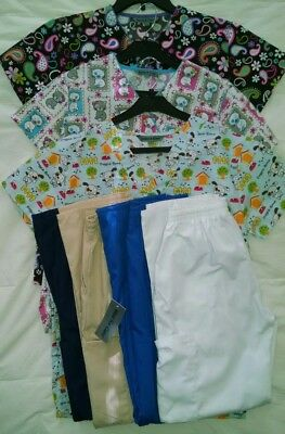Lot of 7 ~ Scrubs, Uniforms, 3 tops, 4 pants ~ Cats Puppies Dogs Paisley ~ XS S
