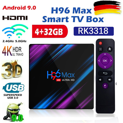 H96 Max 4K Smart TV Box Quad Core 4+32/64G Android 9.0 WiFi BT WiFi Media Player