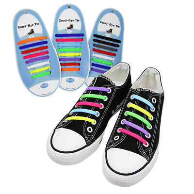 No Tie Colored Shoe Laces Shoelaces Kids Adults Easy Rubber Trainers Snickers