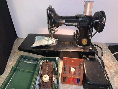 Vintage 221 Singer Featherweight Sewing Machine W/Case & Accessories Works Great