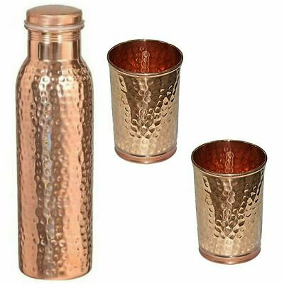 Hammered Pure Copper Bottle with Set of 2 Hammered Glass - Hammered Copper Water