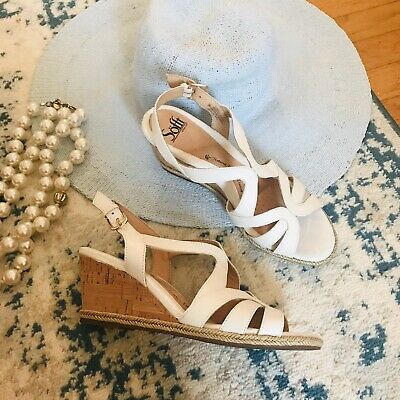 Sofft   Size 9M White Leather Espadrille Cork Wedge Sandals EUC