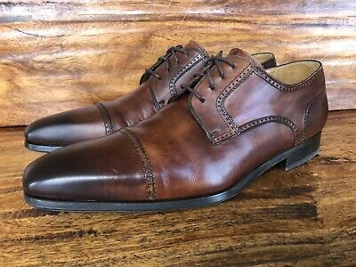 Mens Magnanni Lace Up Dress Shoes Burnished Brown Leather Size 10 M