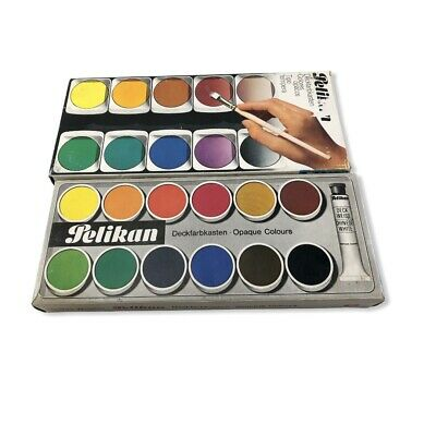 VTG Pelikan Opaque Watercolor Paint Colors Set Plus Chinese White Tube - Used