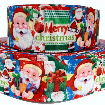 """Grosgrain Ribbon Christmas Owls Santa Claus Reindeer Gifts Candy Cane Snow 7//8/"""""""