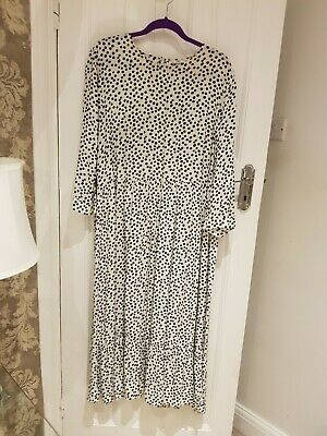 Zara Polka Dot Salmon Maxi Dress Dots Long Dress Satin SIZE S 2XL