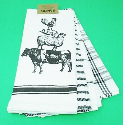 Pig KITCHEN TOWELS CROCHET TOP DOUBLE TOWEL Rooster Country Sheep And Cow
