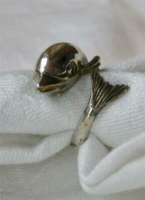 vintage STERLING Silver 3D DOLPHIN By Pass RING Mid-Century FLIPPER adjustible