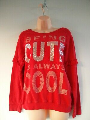 Girls Next Bright Red Sweatshirt Sweater Jumper Sequins Age 15