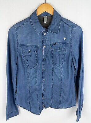 Vintage Blue Cotton DENNY ROSE Popper Fitted Long Sleeve Casual Women/'s Shirt Size M