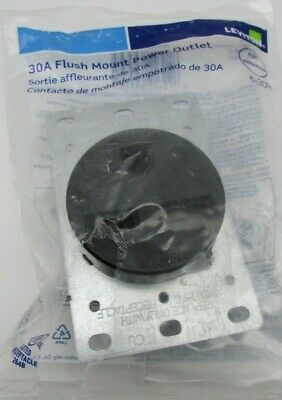 ONE NEW LEVITON 5372 6-30R 30A 250V 2 Pole 3 Wire Flush Mount Outlet BLACK