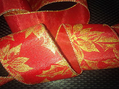 Christmas Red Gold holly Wide Decoration Wired Ribbon Cakes Gifts 1m