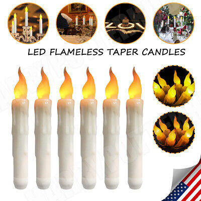 LED Flameless Taper Flickering Candles Lights Battery Operated Party Date Xmas