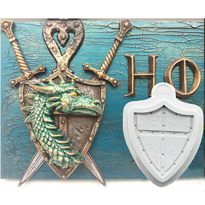 Knight Battle Shield Mould Silicone Mold Fondant Cake Sugarcraft Chocolate Fo ON