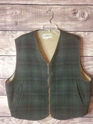 made in the USA mens size S-M vintage LL Bean wool vestblack and green plaid wool sherpa lined vest