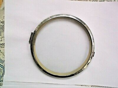 CONVEX GLASS/CHROME RIM FROM AN OLD  MANTLE CLOCK 6 1/4 INCH OUTER DIAM ref 459