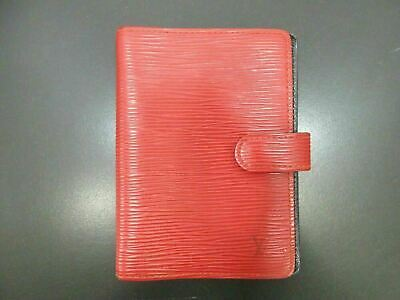 Authentic Louis Vuitton Epi Agenda PM R20057 Red Day Planner Cover 90532