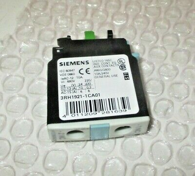 240V 10A Lot Of Two Siemens 3RH1921-1CA10 Auxiliary Contact Block