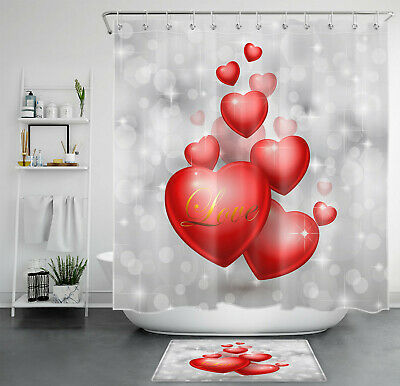 Valentine S Day Shower Curtain Red Heart Shape Decor Bathroom Waterproof Fabric 3 30 Picclick
