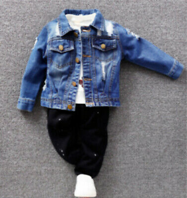 Boys Distressed Denim Jacket Fashion Jeans Coat Tops Toddler Kids Ripped HOT2021