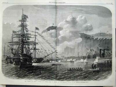 Antique Print 1860 CANADA The Prince of Wales landing at Quebec