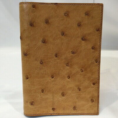 Hermes Ostrich Agenda Note Book Cover Mini Organizer Cover Brown Yellow Used