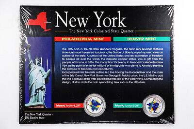 2001-P/D The New York & Delaware Colorized State Quarter UNC 25c
