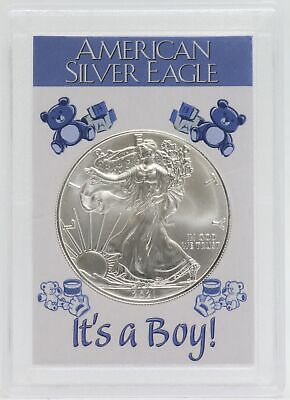 "UNC 2020 Silver Eagle in /""Welcome Baby It/'s A Girl/"" Oak Wood Frame 1oz Silver"