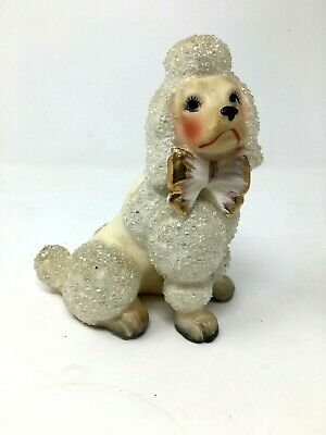 Vintage Mid Century Clear Green Plastic Fancy Standard Poodle Figurine; Lucite Kitschy Dog