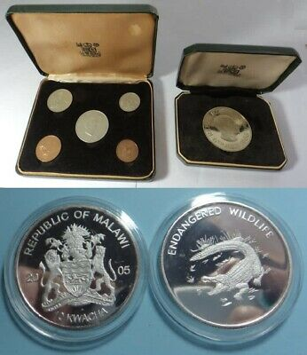 =Reduced= Royal Mint  Zambia 1968 + Proof Independence Crown + Malawi 10 Kwacha