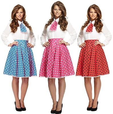Rosso A Pois Rock and Roll 50s Gonna /& Sciarpa Costume Adulti
