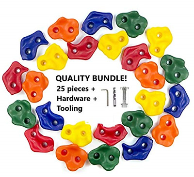N&M Products 25 Pieces Rock Climbing Holds - Mounts - Jungle Gym, Playhouse, and