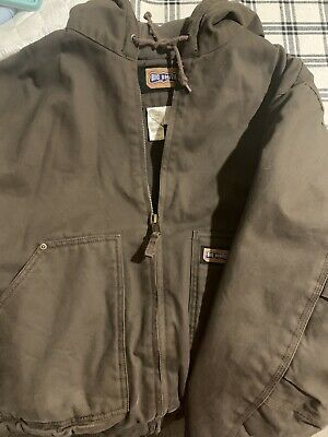 LARGE Size Big Smith Heavy Duty Canvas Green Construction Work Coat Jacket Lined