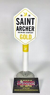 "Saint Archer Gold Beer Tap Handle 12"" NIB"